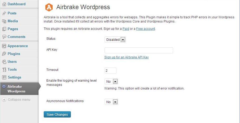 airbrake plugin control panel