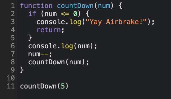 Example of a recursive function with a base case.